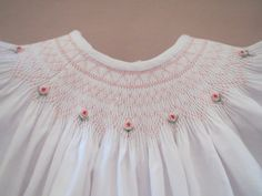 Precious White and Pink Hand Smocked and Embroidered Bishop Dress for Baby Girl Featuring Shadow Work Embroidery Girls Smocked Dresses, Baby Girl Dresses, Cute Dresses, Girl Outfits, Smocking Plates, Smocking Patterns, White Christmas Dress, Punto Smok, Baby Dress Design