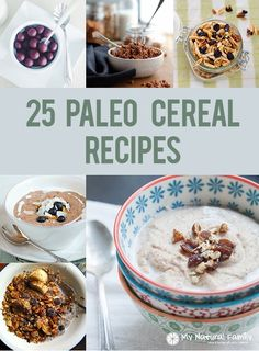 I have a list of 25 Paleo cereal recipes you will love. I have some recipes for granola cocoa puffs cinnamon life porridge 'oatmeal' and curds and whey. Best Paleo Recipes, Primal Recipes, Gourmet Recipes, Real Food Recipes, Favorite Recipes, Copycat Recipes, Free Recipes, Paleo Cereal, Healthy Cereal