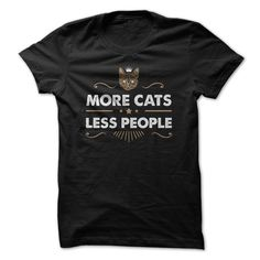 (New Tshirt Deals) More Cats Less People 1 2col Coupon 5% Hoodies, Funny Tee Shirts