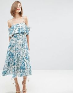 ASOS | ASOS Cold Shoulder Midi Dress In Porcelain Print