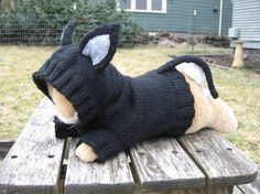 Super cute hand-made knitted dog sweater with mouse ears and tail.