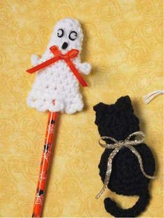 "Party Favors - Create an assortment of whimsical quick-to-stitch favors for trick-or-treat tuck-ins! Pencil cover size: 3-1/2"" (appx) Skill level: Easy Designed by Cindy Harris free pdf"
