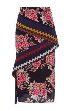 Floral Print Crepe De Chine Skirt - MSGM Resort 2016 - Preorder now on Moda Operandi