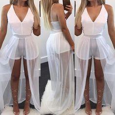 Low Cut Chiffon Maxi Romper Dress