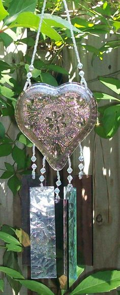 Amethyst Tiara Glass Heart Upcycled into a Windchime by hunter5220, $30.00