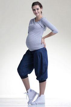 Tmavě modré těhotenské tříčtvrteční kalhoty na léto Leto, Pants, Fashion, Trouser Pants, Moda, Fashion Styles, Women's Pants, Women Pants, Fashion Illustrations