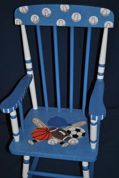 Kids Custom Spindle Back Multi Sports Baseball Football Basketball Childrens Rocking Chair. Painted Rocking Chairs, Hand Painted Chairs, Childrens Rocking Chairs, Funky Painted Furniture, Kids Furniture, Painted Tables, Furniture Design, Decoupage Furniture, Plywood Furniture