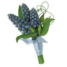 Grape Hyacinth Wedding Boutonniere