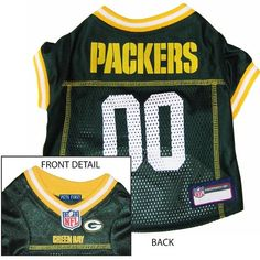 """""""Go PACKS GO!""""...TOUCH DOWN! Official Green Bay PACKERS dog Jersey in color green sizes XS-XXL (See Size Charts Below for Each Item) Licensed NFL Fan GameWear for your Furry Quarterback! Choose all of"""
