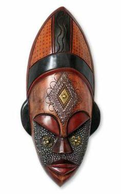 African Wood Mask Ivoirian Hand Carved 'Dan Beauty' NOVICA Ghana