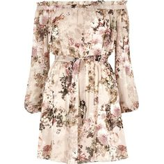 River Island Cream floral print bardot tie front dress (250 BRL) ❤ liked on Polyvore featuring dresses, bardot / bandeau dresses, cream, women, pink ruffle dress, cream long sleeve dress, floral ruffle dress, ruffled dresses and pink long sleeve dress