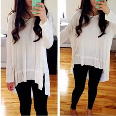 ESSENTIAL White Loose High Low Tunic Top Slits Brand new milk white loose top with side slits. Sizes S M L. Limited sizes! Tops Tunics