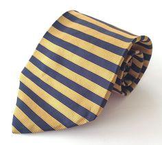 Brooks Brothers BFS Neck Tie Blue Gold Striped 100% Silk #BrooksBrothers #NeckTie