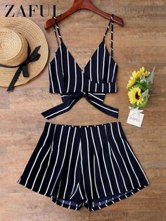 Sexy Beach Cover Up Women Cami Wrap Top With Striped Shorts Bikini Cover Up Beachwear Women Beach Dress Trendy Outfits, Trendy Fashion, Girl Fashion, Summer Outfits, Cute Outfits, Fashion Outfits, Fashion Design, Affordable Fashion, Fashion Cover