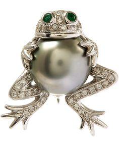 Kojis White Gold Tahitian Pearl Frog Diamond Brooch | Accessories | Liberty.co.uk