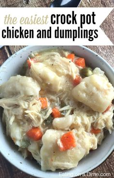 This easy crock pot chicken and dumplings made with biscuits is delicious! It is the best chicken and dumplings with biscuits that you can make. You will love this easy crock pot chicken and dumplings recipe!