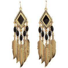 Boho Feather Chandelier Earrings (19 BRL) ❤ liked on Polyvore featuring jewelry, earrings, accessories, brincos, gold, long dangle earrings, feather dangle earrings, long earrings, feather earrings and dangle charms