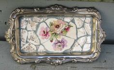 Silver Tray with Vintage Dish Mosaic