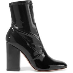 Valentino Faux patent-leather ankle boots ($735) ❤ liked on Polyvore featuring shoes, boots, ankle booties, ankle boots, valentino, black, black high heel ankle booties, block heel booties, black bootie boots and black booties