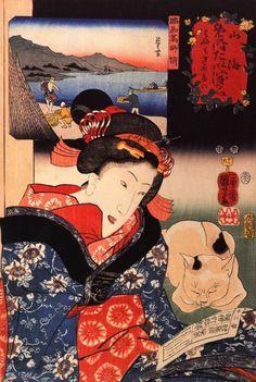 JAPANESE ART CATS! <<=>> Utagawa Kuniyoshi (1797-1862) one of the last great masters of the ukiyo-e style in painting and woodblock printing. Kuniyoshi's subjects included landscape, women, kabuki actors, mythical animals and… wait for it… CATS!