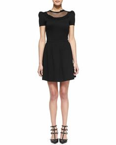 Dotted-Yoke Jersey Dress by RED Valentino at Neiman Marcus.