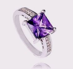 womens size 9 purple cubic zirconia solitaire w/accents 925 sterling silver #Unbranded #SolitairewithAccents #Engagement