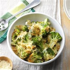 Baked Parmesan Broccoli Recipe -I began making this creamy side dish years ago as a way to get my kids to eat broccoli. They've since grown up, but still request this satisfying dish. It's truly a family favorite. —Barbara Uhl, Wesley Chapel, Florida