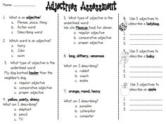 Adjectives Assessment