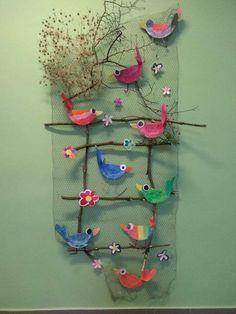 - Other - sommer basteln kinder -Vogel & s - Ayşe Döğer - depins. - Other - sommer basteln kinder - Barevní ptáčci z plsti / Zboží prodejce KashKi original - HomeDecor Bird Crafts, Nature Crafts, Easter Crafts, Diy And Crafts, Crafts For Kids, Arts And Crafts, Toddler Art, Toddler Crafts, Collaborative Art