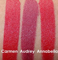NARS Audacious Lipstick Swatches from the left: Carmen, Audrey and Annabella