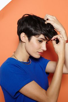 Hey, Shorty: 4 Rad 'Dos For Pixie Cuts #refinery29  http://www.refinery29.com/55218#slide3  Once your hair has cooled down, finger-comb the curls to loosen them up. Add a bit of styling wax or paste to the ends so that all of your hard work doesn't collapse.
