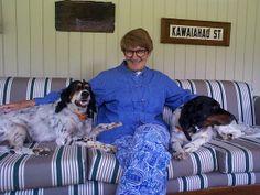 More Loewenhardt dogs...Pauline Loewenhardt with Joe and Sue Loewenhardt's dogs in Hawaii in 2001