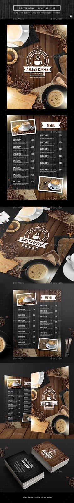 Coffee Menu + Business Card  - PSD Template • Only available here ➝ http://graphicriver.net/item/coffee-menu-business-card/16858478?ref=pxcr