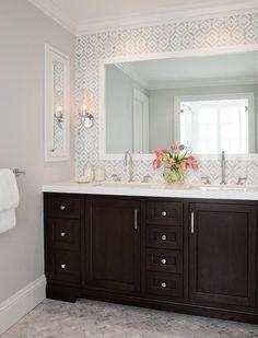 Geometric Marble bathroom Backsplash, Transitional, Bathroom 3 Modern Small Bathroom Ideas - Great B Bathroom Renos, Bathroom Renovations, Master Bathroom, Bathroom Ideas, Bathroom Cabinets, Bathroom Marble, Bathroom Fixtures, Ikea Bathroom, Bathroom Mirrors