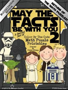 Multiplication May The Facts Be With You 2 ~ Color By The Code Math Puzzle Printables! My first set was so popular with the children, I was asked to make more! Use the children's love of Star Wars to practice multiplication math facts!  PLEASE NOTE: These are the SAME pictures as my SECOND Star Wars addition and subtraction set but with multiplication facts. Aligned with Common Core Standards ~ CCSS: 3.OA.1; 3.OA.5; 3.OA.7; 4.OA.1; 4.NBT.5 This set includes 6 multiplication math puzzles. $