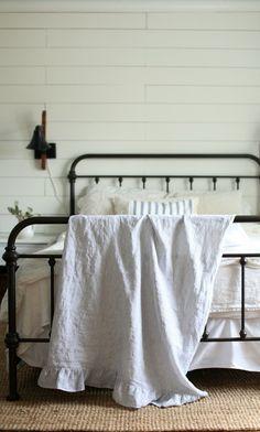 DIY linen throw blanket