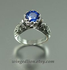 The ENCHANTED PRINCESS 14k gold engagement ring by WingedLion, $1530.00