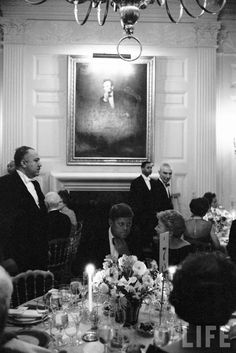 Pres. John F. Kennedy speaking w. wife of writer Ernest Hemingway at a party for Nobel Prize winners held at the White House Location: Washington, DC, US Date taken: 1962 Photographer: Art Rickerby