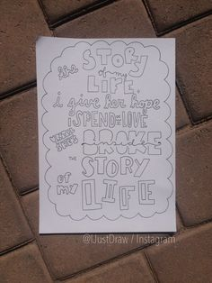 One Direction Story of My Life Lyric Collage Black and White