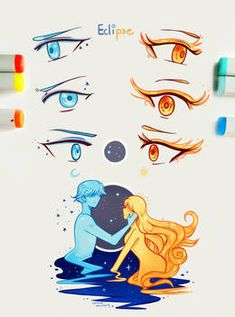"Eye Drawings ""Eclipse happens this one time when the Sun and the Moon look at each other, yearning, when the Moon touches the Sun's cheek, covering it… - Pinguin Illustration, Realistic Eye Drawing, Anime Eyes, Eye Art, Drawing Reference, Cute Drawings, Art Tutorials, Art Sketches, Fantasy Art"