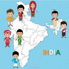 Children of India clipart, Children, Unity clipart, Ethnic Kids, Asian children from PentoolPixie on Etsy Studio