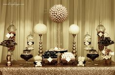 Gold and ivory candy/dessert buffet, bon bons, rock candy, gold sequin table linen