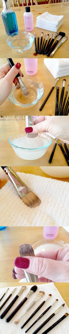 Clean your makeup brushes every week with special makeup brush cleanser, or with liquid dish soap, hand soap or baby shampoo. From time to time, you can also clean them with rubbing alcohol. If you use liquid soap, dip the brush into warm water and then into the soap. Press the brush against your palm, swirling and massaging it, then, rinse it under warm water. Repeat the process until the brush is completely clean. Reshape the brushes with your fingers and lay them flat on a towel, to dry.