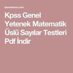 Kpss Genel Yetenek Matematik Üslü Sayılar Testleri Pdf İndir