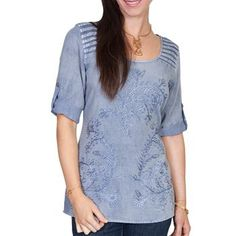 Scully Women's Half Sleeve Tonal Embroidered Blouse