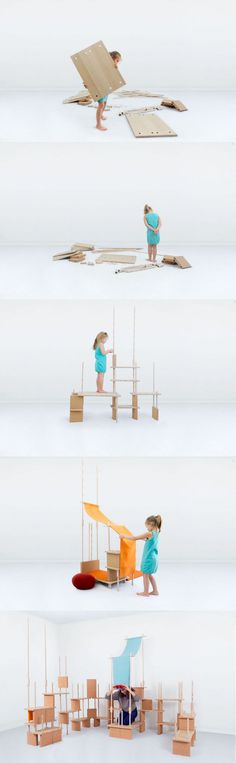 Open sectional modular wooden shelving unit PLAY YET ! By smarin design Stéphanie Marin Modular Furniture, Kids Furniture, Contemporary Furniture, Furniture Design, Wooden Shelving Units, Playground Toys, Kids Bedroom Sets, Building For Kids, Kids Room Design