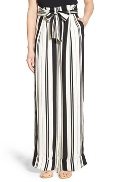 Free shipping and returns on Olivia Palermo + Chelsea28 Stripe Wide Leg Pants at Nordstrom.com. A removable sash belt cinches the ultrachic paper-bag waist of drapey wide-leg pants patterned with bold, variegated stripes. Wide cuffs finish the standout, fashion-forward look, which was designed in collaboration with international style icon Olivia Palermo.
