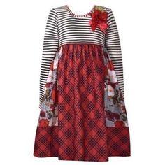 a55b1451c370 Bonnie Jean Baby Girls Red Plaid Stripe Ribbon Flower Christmas Dress  12-24M Girls Christmas