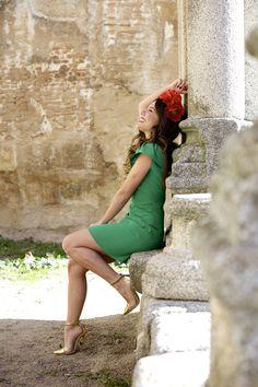 RED FLOWERS + GREEN DRESS - PEEPTOES