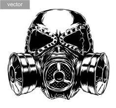Illustration of engrave isolated gas mask vector illustration sketch. linear art vector art, clipart and stock vectors. Gas Mask Drawing, Gas Mask Art, Masks Art, Gas Masks, Skull Stencil, Skull Art, Easy Drawing Steps, Easy Drawings, Skull Tattoos